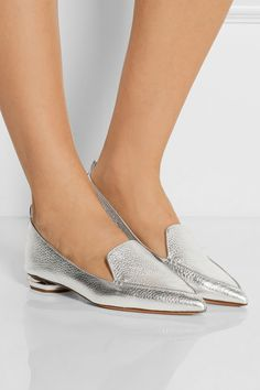 Nicholas Kirkwood's metallic & leather point-toe flats are striking but  effortless to wear
