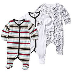 3 Pack Cat Print Cotton Coveralls
