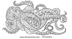 Hand drawn Coloring pages with octopus, zen tangle illustration for adult anti stress Coloring books or tattoos with high details isolated on white background. Vector monochrome sketch