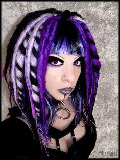 Vampirefreaks model Mistabys with purple Cybergoth dreads. Lovely!
