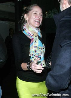 #SharonStone Wears A Geometric #PrintScarf To Dinner In Beverly Hills