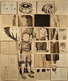 Opened books as a creative canvas