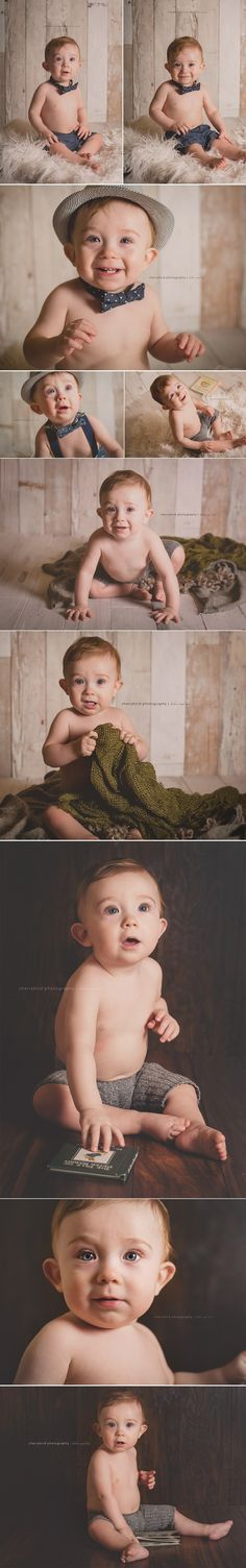 Neutral vintage one year old boy photography session cake smash lake of the ozarks child photography studio cherrybird photography