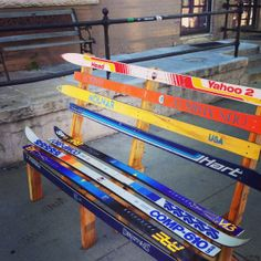 Custom Recycled Ski Bench - Made In Colorado From Old Skis - One Of A Kind