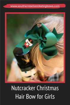 Your little girl will look beautiful in this Christmas nutcracker bow at the ballet! This big green bow features an embroidered toy solider. It makes a perfect nutcracker gift or stocking stuffer for little girls.  Available in four sizes it is the perfect holiday accessory for her Christmas outfits and family Christmas card photos.  It has been beautifully crafted out of quality ribbon that is slightly twisted for that classic boutique bow shape that won't lie too flat when worn. Christmas Hair Bows, Family Christmas Cards, Christmas Outfits, Big Hair Bows, Christmas Accessories, Nutcracker Christmas, Boutique Hair Bows, Little Girl Outfits, Cheer Bows