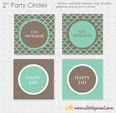 "DIY EID Mubarak 2"" Party Circles. Squares - Instant Download"