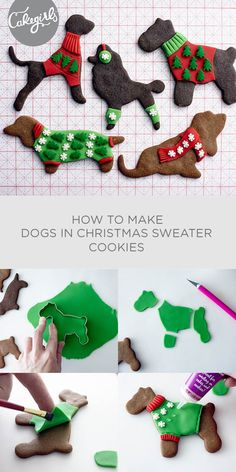 Dogs in Christmas Sweater cookies will be the hit of the cookie tin! | Cakegirls Step x Step