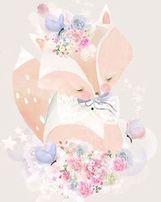 Our new release of prints are coming soon and we will be offering them in an even larger size! This is 'Flowers for Fox' xx @schmooksart #girlsdecor #kidsroom #pastel #childrensdecor #baby #nurserydecor #kidsinspo