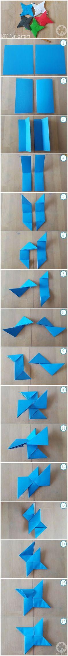 DIY Anleitung Ninjastern / Wurfstern aus Papier (Origami) für eine Ninja oder Ninjago Geburtstags-Party #DIY #Ninja #Geburtstag #Party