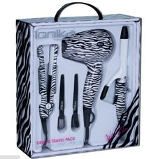 IONIKA TRAVEL PACK Wild Zebra - everything you need for the road. Included in this pack is 1 travel dryer, 1 mini detailer, 2 clips, and 1 mini curling iron.    http://www.ionikapro.com/?product=ionika-travel-pack-wild-zebra