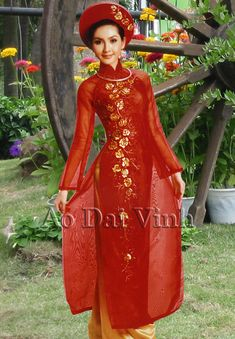 Home :: Wedding Ao Dai :: Red :: Red Wedding Ao Dai WR166