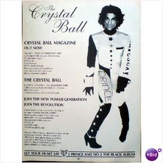 Prince. Advert The Crystal Ball. Magazine advert. Record Collector Magazine