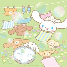 Cinnamoroll and friends are enjoying laundry day together!