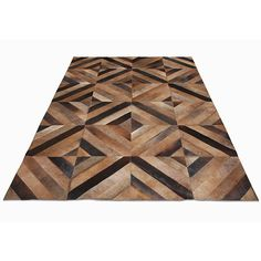 zag cowhide rugs rombos cowhide rug tobacco liked on polyvore featuring