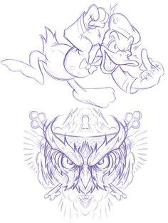 066 - Sketches by Joshua M. Smith, via Behance Tattoo Outline Drawing, Outline Drawings, Cartoon Drawings, Cartoon Art, Cartoon Tattoos, Tattoo Design Drawings, Tattoo Sketches, Art Sketches, Family Tattoo Designs