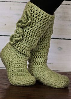 Adult Crochet Slipper Boots by swachica