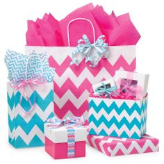 Hot Pink & Turquoise Chevron packaging from Nashville Wraps!