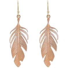 Annette Ferdinandsen Large Rose Gold Feather Earrings - 14 Karat (£550) ❤ liked on Polyvore featuring jewelry, earrings, accessories, brincos, bijoux, pink gold jewelry, annette ferdinandsen earrings, annette ferdinandsen jewelry, 14 karat gold earrings and earrings jewelry