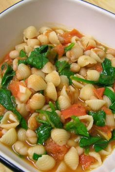 Recipe For Tuscan White Bean and Spinach Soup - Jonah might even like it.