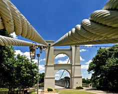 Waco, TX - old suspension bridge over the Brazos River