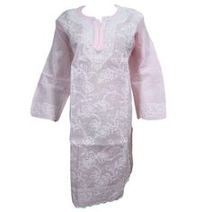 Mogulinterior Bohemian Tunic Dress Pink Floral Embroidered Indian Long Kurta for womens X-L