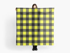 Chunky Buffalo plaid scarf in yellow and black. by linepush