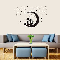 Romantic PVC All Over The Sky Stars Couple Cats Wall Stickers - USD $ 5.99