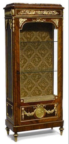 18th C Paint And Parcel Gilt Mirrored Door Secretary