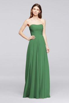 A strapless pleated bodice and flowy floor-length skirt make this crinkle chiffon bridesmaid dress supremely flattering.  Polyester  Back zipper; fully lined  Dry clean  Also available in Extra Length sizes  Short Version: F18028