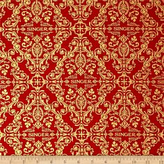 Sewing With Singer Metallic Medallion Red from @fabricdotcom  Exclusively trademarked by The Singer Company for Robert Kaufman this cotton print is perfect is perfect for apparel, quilting and home decor accents. Colors include red and gold metallic accent.