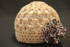 Leopard flower crocheted hat on Etsy, $18.00