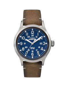 RRP Timex Gents Expedition® Scout is set around a blue dial with white numeral hour markers. The watch fastens with a brown leather strap and is also waterproof with the famous Timex Indiglo back light Sport Watches, Cool Watches, Watches For Men, Wrist Watches, Retro Watches, Casual Watches, Brown Leather Strap Watch, Tan Leather, Sport Chic