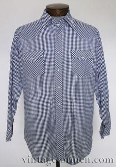 Vintage 80s Blue Gingham Check Plaid Shirt #vintageformen #mensvintage #vintagemens #vintagemenswear #gingham #ginghamshirt #vintage