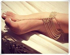 Women Boho Golden Foot Chain,Golden Anklet Tassels Feet Chain,Slave Toe Chain Body Jewellry Decor Chic Fashion by flowers and fruits -- Awesome products selected by Anna Churchill