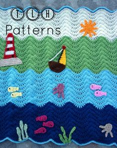 So cute, so colorful and adorable! This roundup of crochet baby blankets is a feast for the eyes! Do you need a baby shower present? Nautical Crochet, Nautical Baby, Crochet Ripple Blanket, Crochet Blanket Patterns, Cute Crochet, Crochet Baby, Baby Afghans, Coupon, Etsy