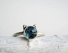 I'm a sucker for a london blue topaz!!  Blue Cat Ring London Blue Topaz Sterling Silver by EveryBearJewel.