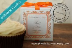 12 - Personalized Wedding Favor Cupcake Mixes - Damask Design - ANY COLOR -  Baby Shower Favors, Bridal Shower Favors, Party Favors