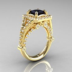 Modern Art Nouveau 14K Yellow Gold 1.23 Carat by DesignMasters, $2249.00