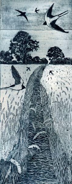 ARTFINDER: Flight Path by Janis Goodman - Summer evening, a path through a ripe wheat field with swallow swooping low. Art And Illustration, Illustrations, Bild Tattoos, Wood Engraving, Wildlife Art, Bird Art, Printmaking, Cool Art, Oriental