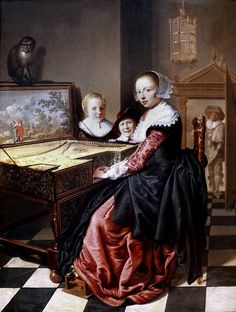 Woman playing the virginal, Jan Miense Molenaer, 1630 - 1640 - Rijksmuseum Johannes Vermeer, Dutch Golden Age, Baroque Art, Dutch Painters, Dutch Artists, Historical Costume, Beautiful Paintings, Figure Painting, Art History