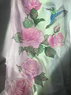45 x 180 cm/ 21 x 70 in. Handpainted roses with a hummingbird Silk chiffon shawl Chiffon Shawl, Silk Chiffon, Peacock Tail, Hummingbird, Roses, Hand Painted, Trending Outfits, Unique Jewelry, Handmade Gifts
