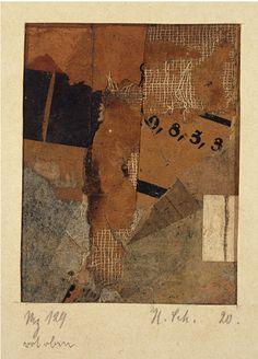 archives-dada: Kurt Schwitters, Mz 129 pourriture oben [Mz 129 rouge sur le dessus], 1920, Collage sur papier, 10,60 x 8,30 cm, Galeries nationales, en Ecosse, DACS © 2006