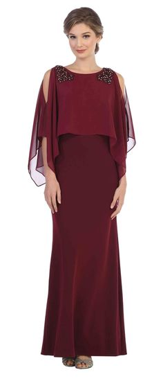 Long Formal 34 Sleeve Mother of the Bride Chiffon Dress DressOutlet Brides Mom Dress, Mother Of The Bride Dresses Long, Mother Of Bride Outfits, Bride Groom Dress, Mothers Dresses, Mother Bride, Formal Dresses For Weddings, Formal Evening Dresses, Elegant Dresses