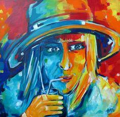 Dame mit Hut kk