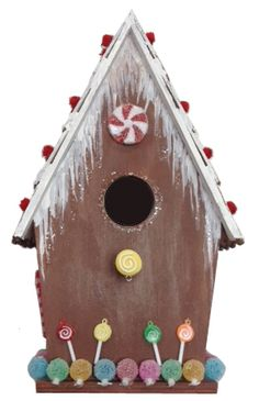 Gingerbread Birdhouse #christmas #craft - Grandpa could easily make the birdhouse & we can decorate!!!