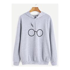 SheIn(sheinside) Grey Eyeglass Print Hooded Sweatshirt (20 CAD) ❤ liked on Polyvore featuring tops, hoodies, grey, pullover hoodies, grey hooded sweatshirt, gray hoodie, gray pullover hoodie and sweatshirt hoodies