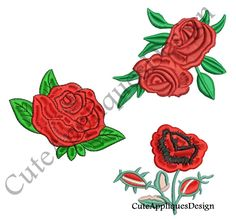 3 Roses Embroidery Design No 1170 by CuteAppliquesDesign on Etsy