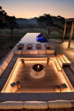 Dream Home Design, Modern House Design, Modern Backyard Design, Garden Design, Terrace Design, Modern Patio, Outdoor Fireplace Designs, Fireplace Ideas, Modern Outdoor Fireplace