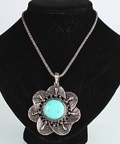 """Flower Turquoise Necklace  $12.00  Necklace Length 21.65"""" / 55cm"""