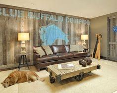 Rustic Office Reception Area - contemporary - basement - new york - Beth Rosenfield Design LLC Rustic Room, Rustic Walls, Rustic Wall Decor, Wood Walls, Wood Paneling, Rustic Basement, Industrial Basement, Modern Basement, Industrial Table